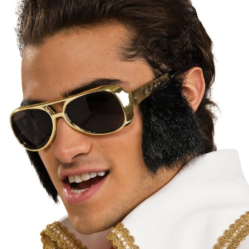 Sunglasses Elvis Size Presley Costume With Attached SideburnsGoldOne Rubie's 34ALjR5